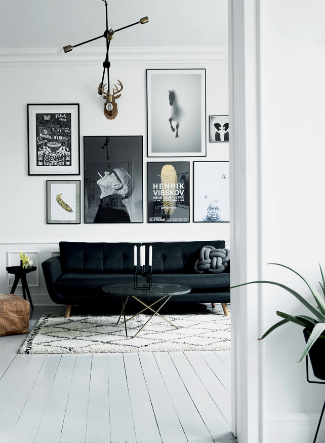 the living room in black and white is made cozier with the help of a