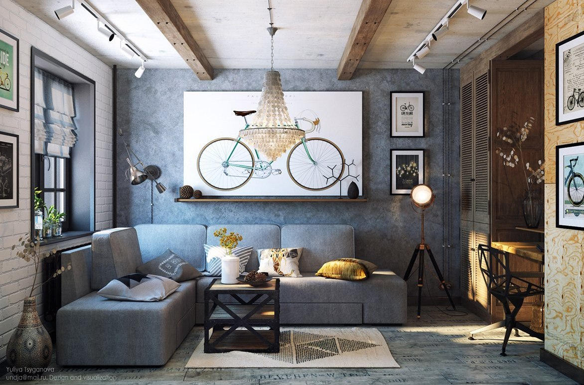This cozy grey living room is done in industrial style