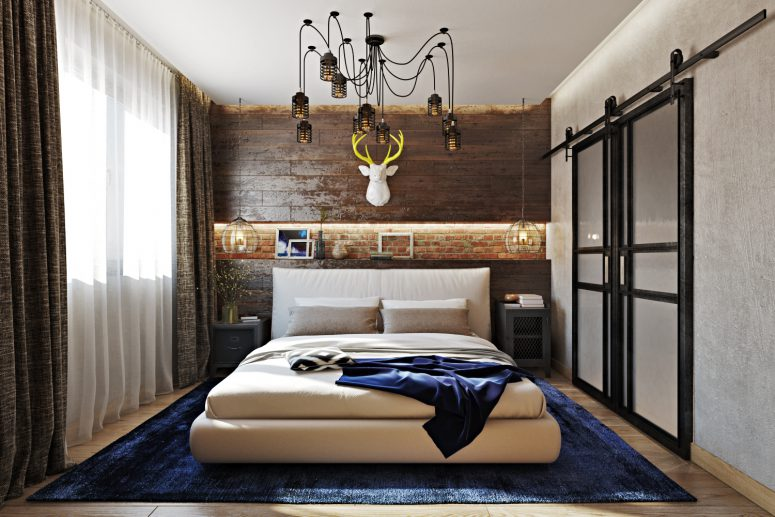 This Industrial Meets Rustic Bedroom Is A Very Stylish And Bold Space