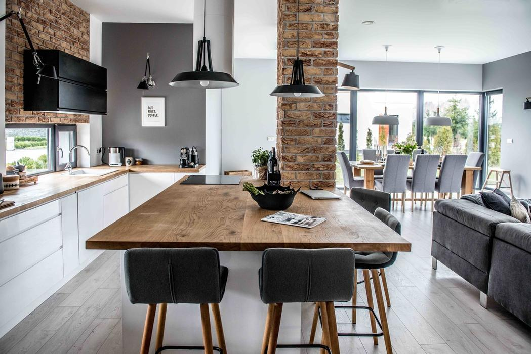 modern l shaped kitchen and dining space in shades of grey - Living Room Dining Room