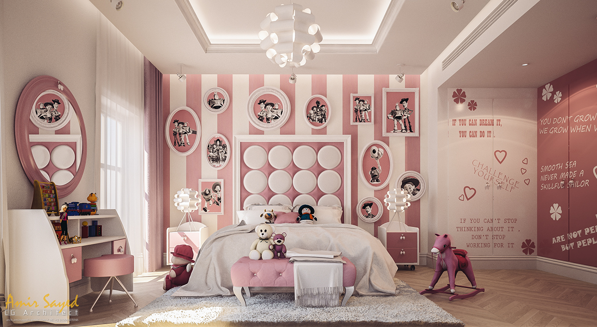 Pink And White Girlu0027s Bedroom Design Idea