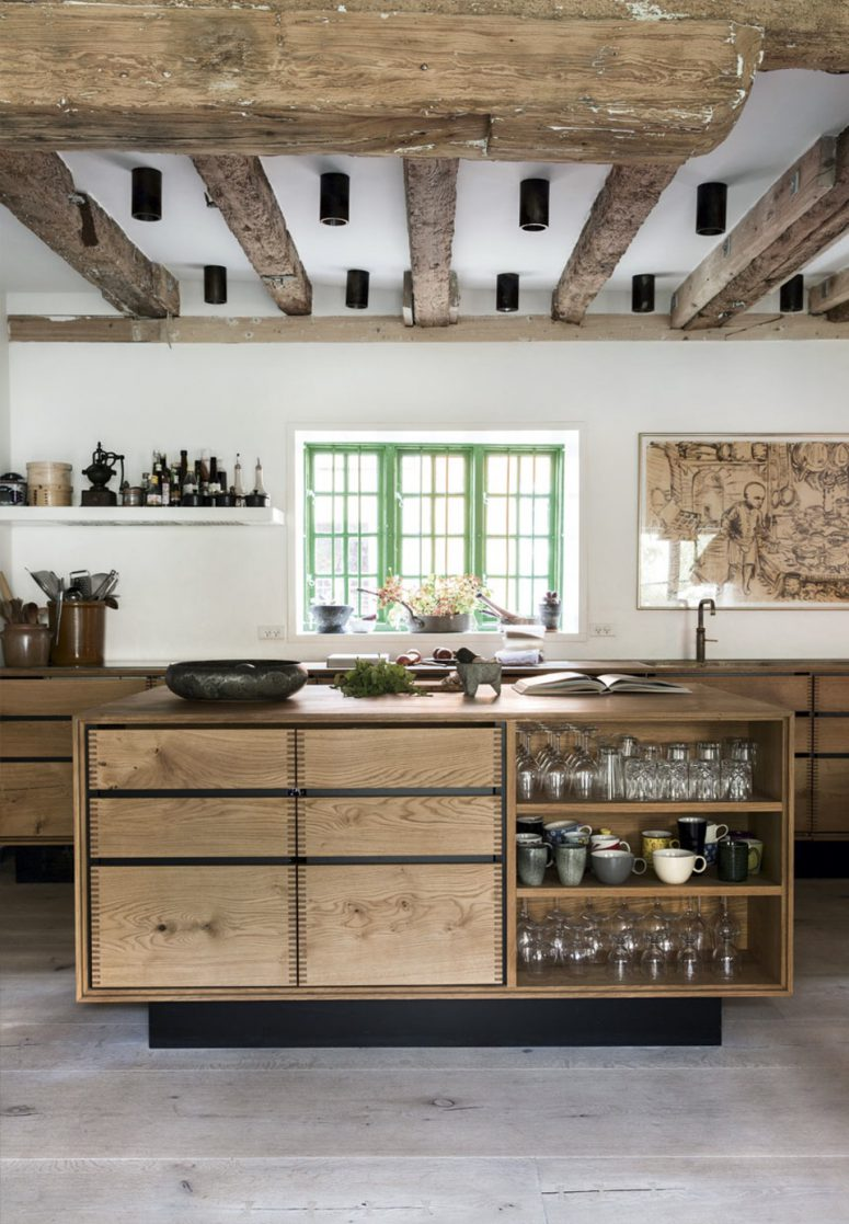 Dinesen heart oak was extensively used for floors, furniture and even beams around the house