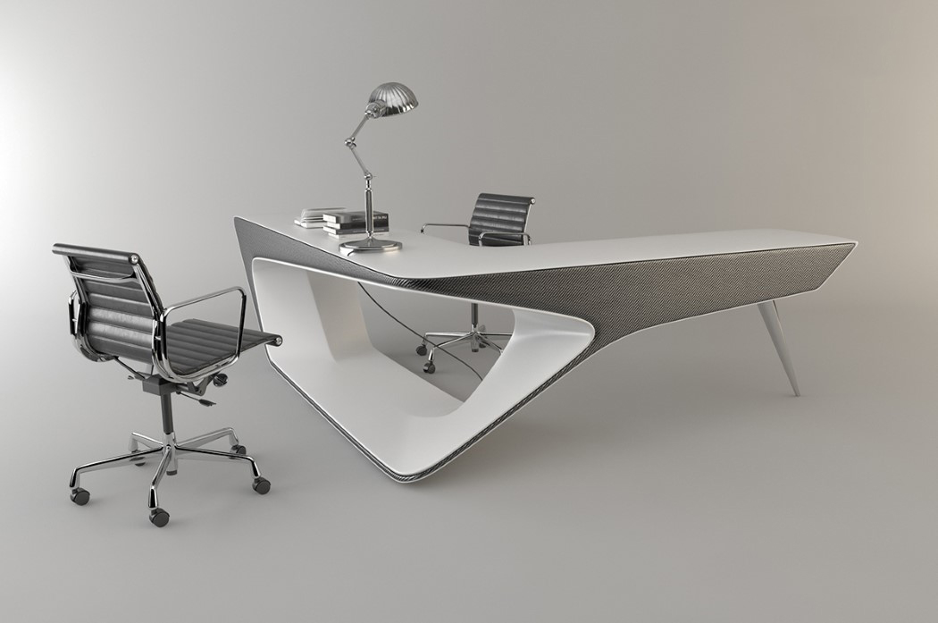 futuristic l shaped desk for modern workspaces digsdigs. Black Bedroom Furniture Sets. Home Design Ideas