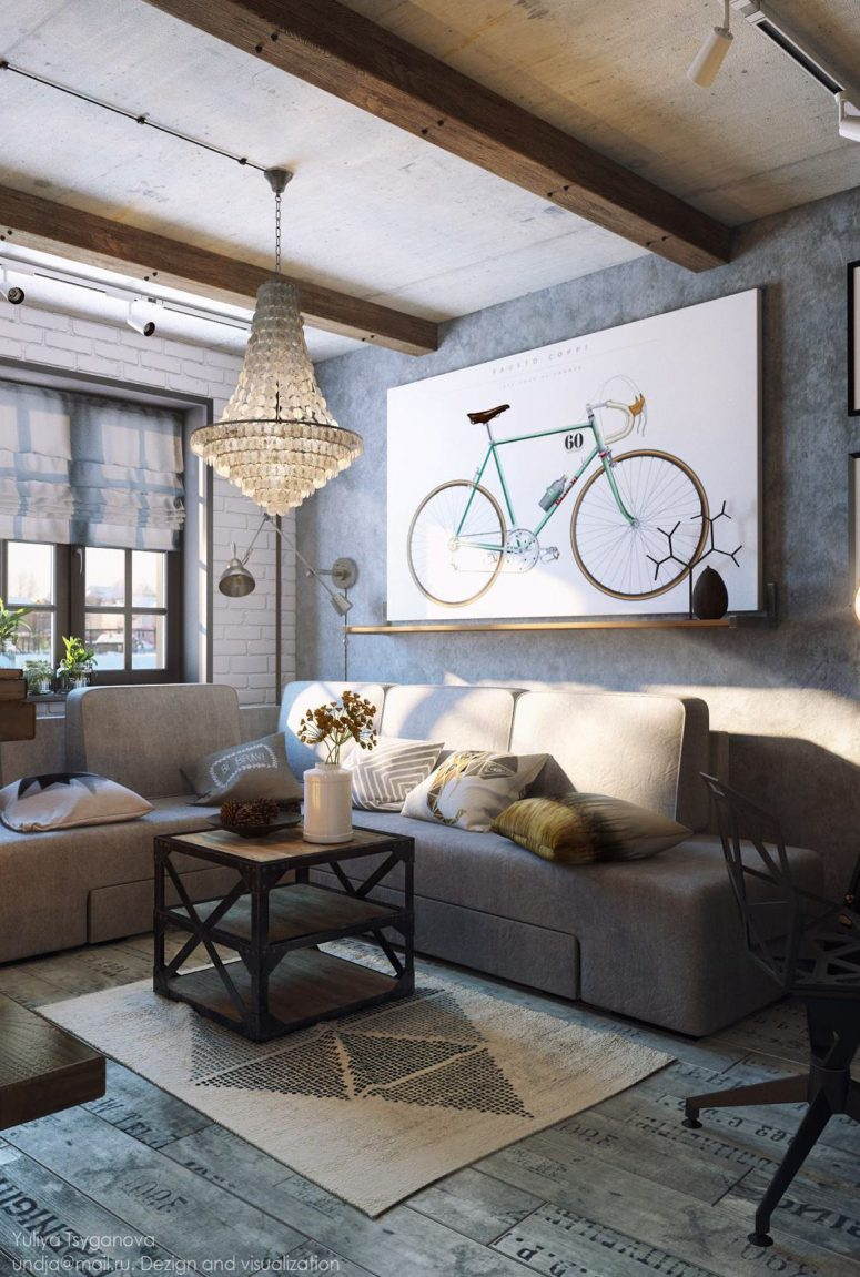 Cozy industrial living room design in grey tones digsdigs Modern eclectic living room