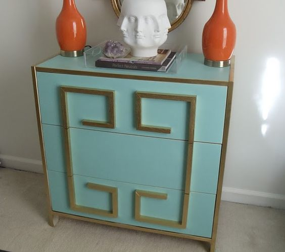 aqua blue IKEA Rast with gold trim
