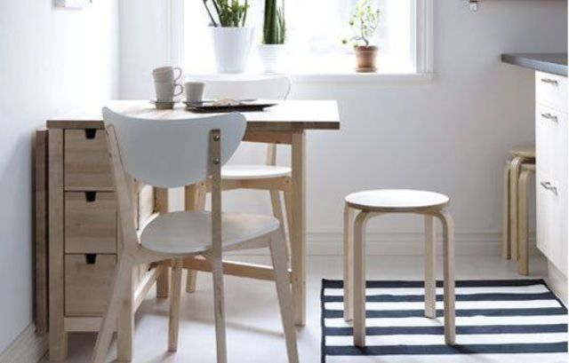25 Ways To Use IKEA Norden Gateleg Table In D233cor DigsDigs : 02 light wood Norden Gateleg table for a small kitchen from www.digsdigs.com size 640 x 409 jpeg 31kB