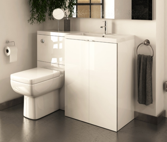 modern white vanity, sink and toilet unit