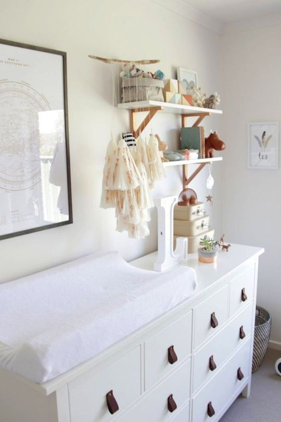 IKEA Dresser Hack Into A Diaper Changing Station With Leather Pulls