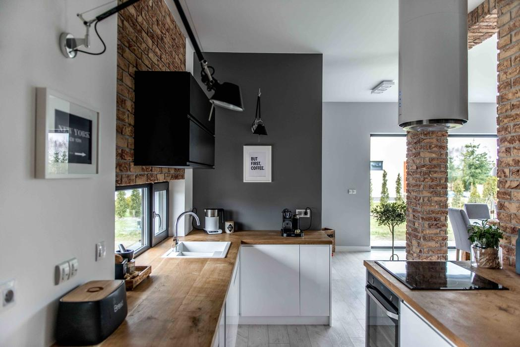 Modern l shaped kitchen and dining space in shades of grey - Distribucion de cocinas ...