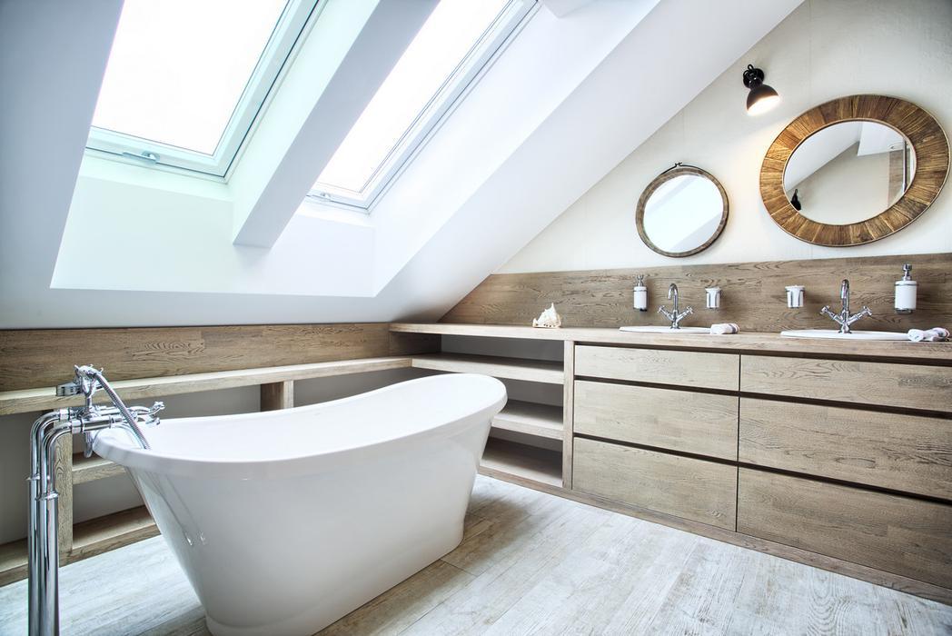 Attic Modern Master Bedroom And Bathroom Decor Digsdigs