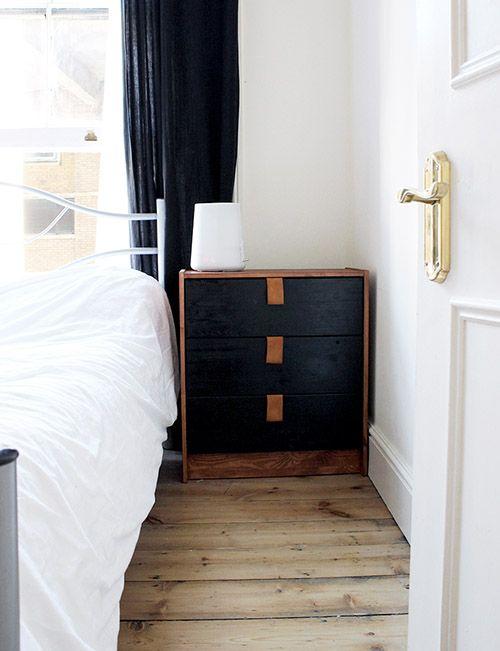 black IKEA Rast dresser with leather pulls