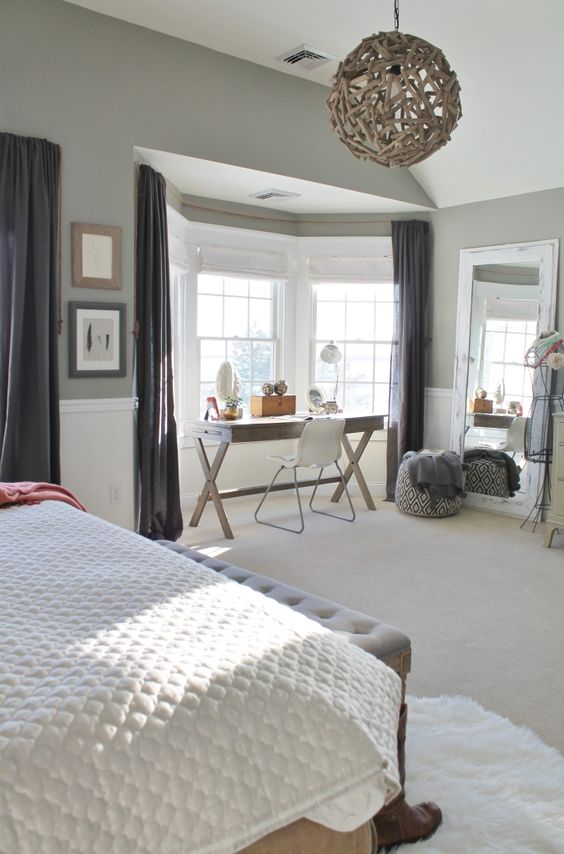 chic farmhouse room with a workspace nook by the window