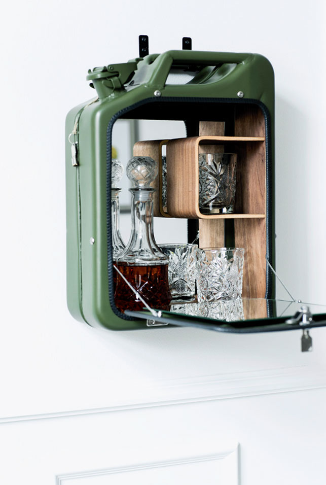 the bar cabinet reminds of a fuel can