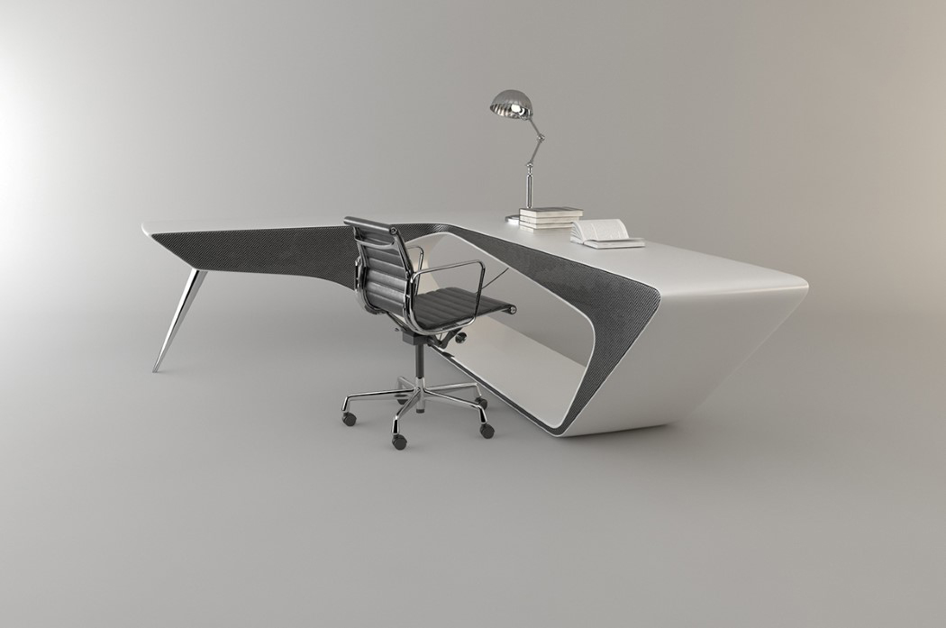 The desk is available in grey and white, it looks very modern and sleek
