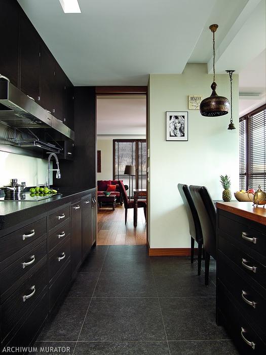 The kitchen is clad in black oak