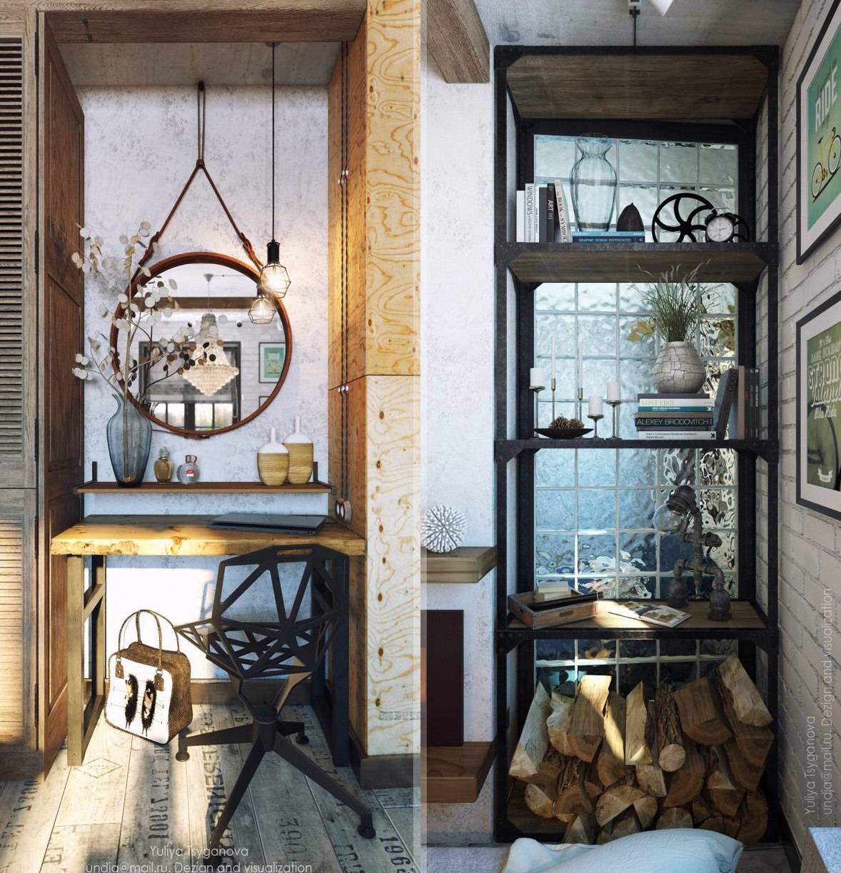 There's a home office nook with a cool metal chair and a large mirror