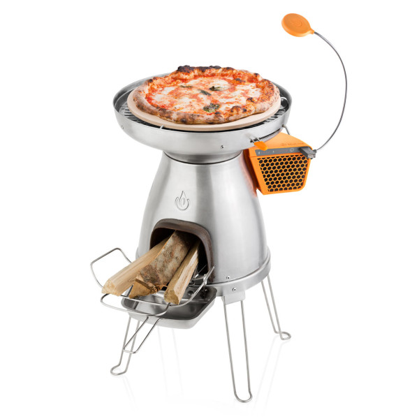 While you're out in the wild, you can cook pizzas, flatbreads, and other foods in this three-piece system