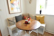 04 modern and rustic DIY breakfast nook set with a sisal rug and a wood top table