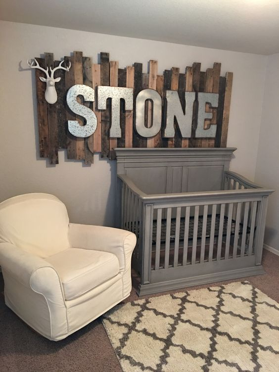 Picture of rustic wood pallet sign with galvanized metal for Baby cot decoration ideas