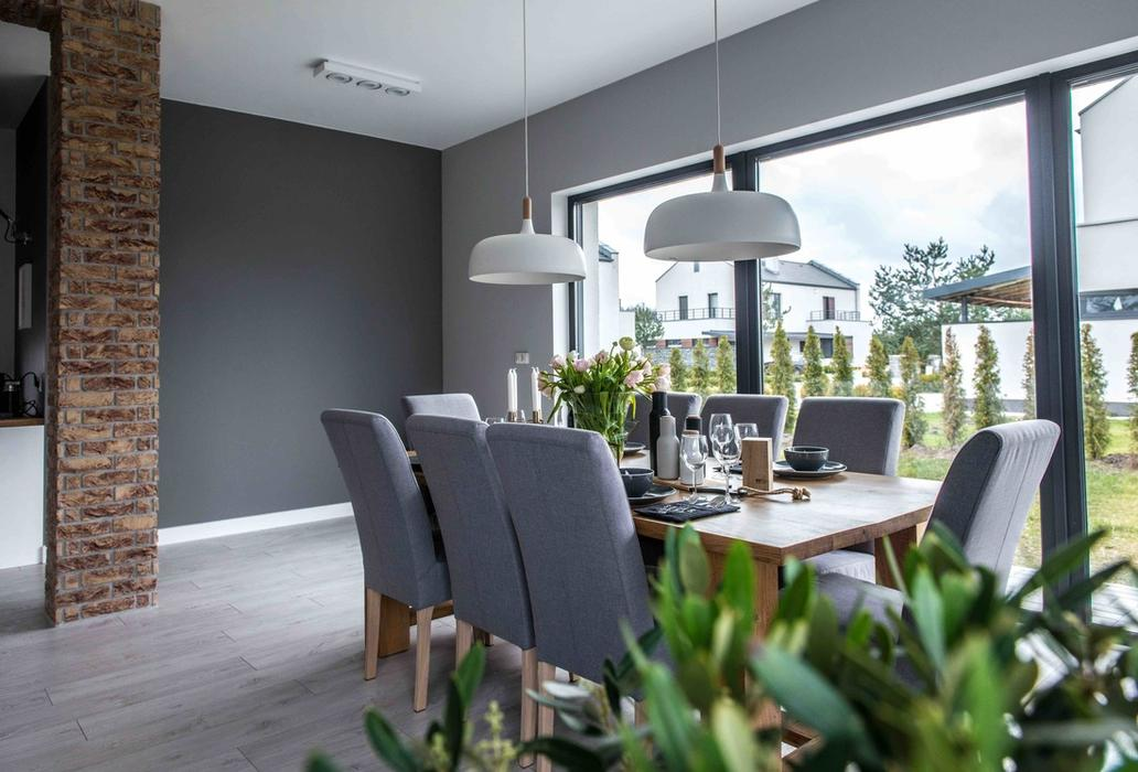 Modern l shaped kitchen and dining space in shades of grey for Large french windows