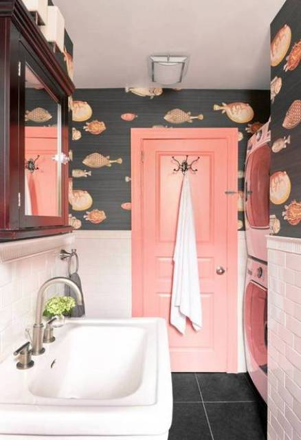 Whimsy bathroom with a fun fish print
