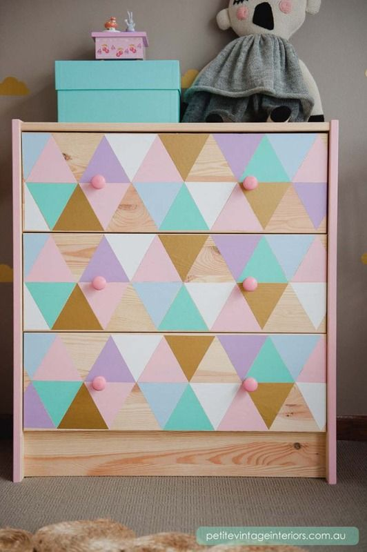 colorful geometric IKEA Rast hack