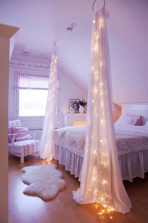 curtains with LED lights are used to divide the room into areas