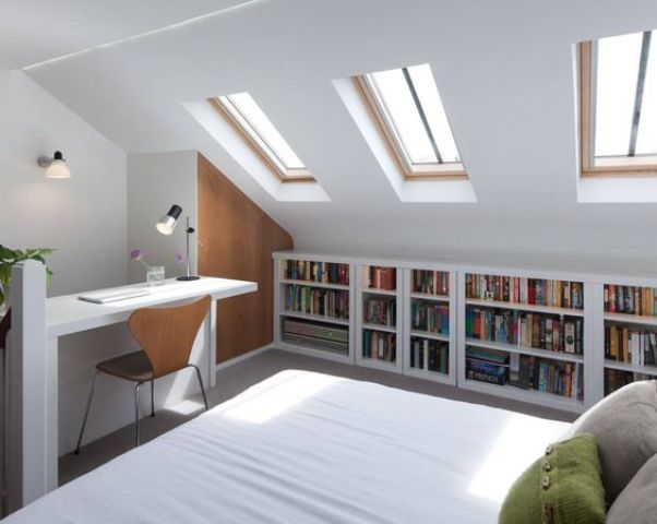 modern attic bedroom with a workspace nook