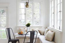 05 modern neutral breakfast corner with black chairs