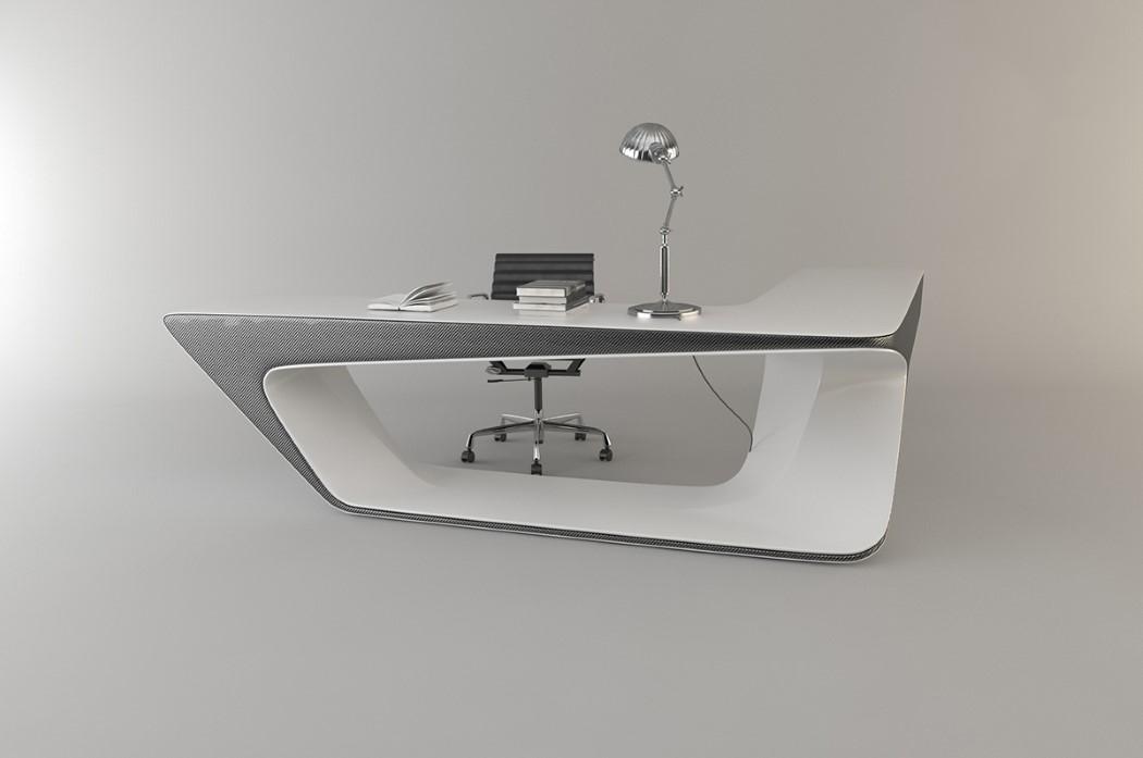 wonderful futuristic office desk   Futuristic L-shaped Desk For Modern Workspaces - DigsDigs