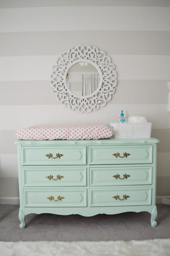 Provence style dresser painted mint and turned into a changing station