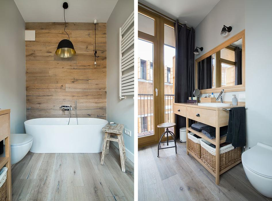 The Master Bathroom Is Full Of Nautral Wood Which A Huge Trend For Bathrooms