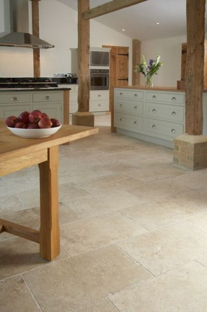 30 practical and cool looking kitchen flooring ideas for Travertine eye drops