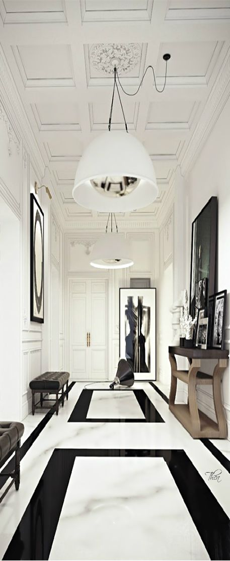 luxurious marble in black and white for a Parisian-style apartment