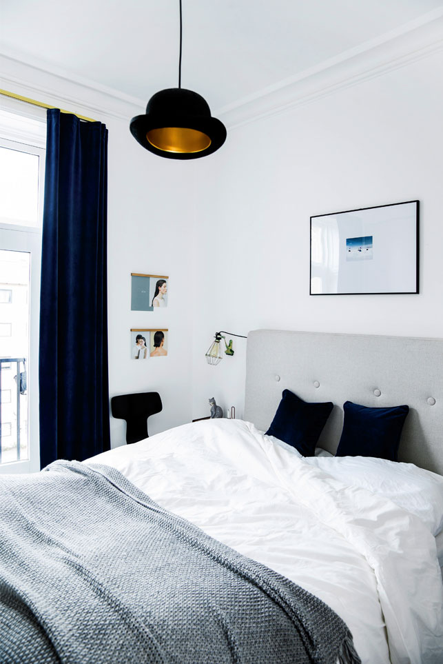 The master bedroom can boast of more colors and shades like navy or gold