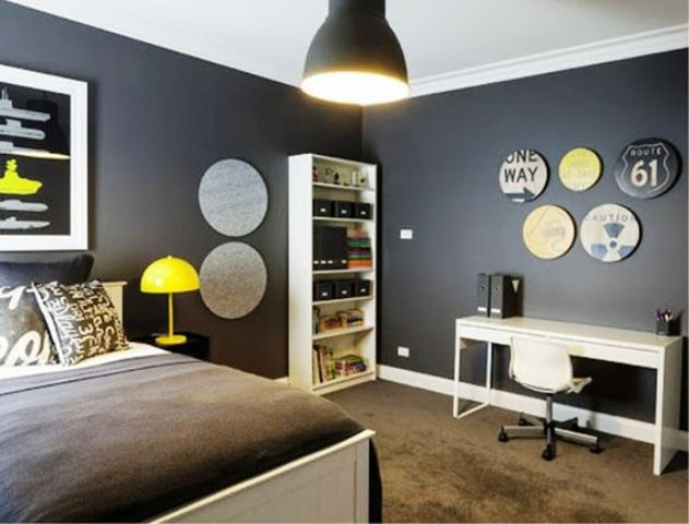 black teen room with neon touches