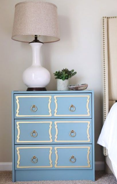 dusty blue dresserhack with trim