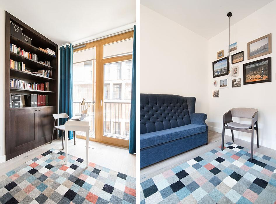 The home office nook is lit with daylight and accentuated with bold blue touches