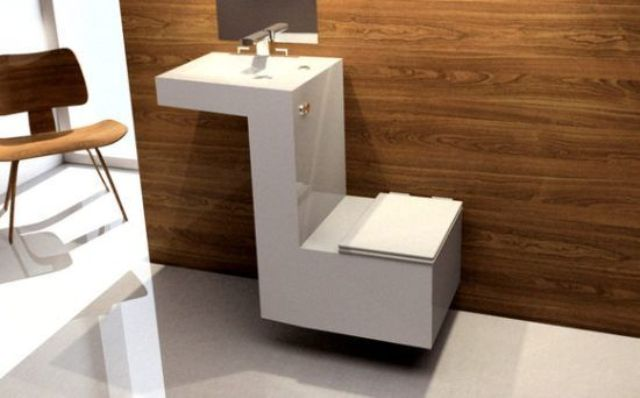 minimalist angled toilet and basin unit