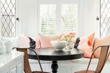 09 vintage breakfast nook with refined furniture and pink cushions