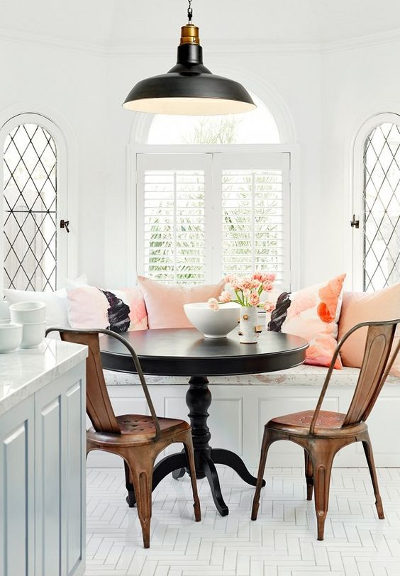 vintage breakfast nook with refined furniture and pink cushions breakfast furniture