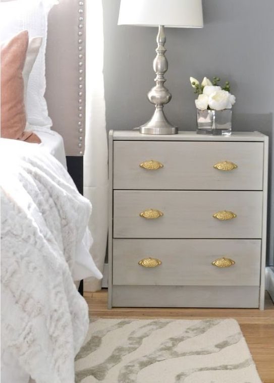 glam pearl grey Rast hack for a bedside table