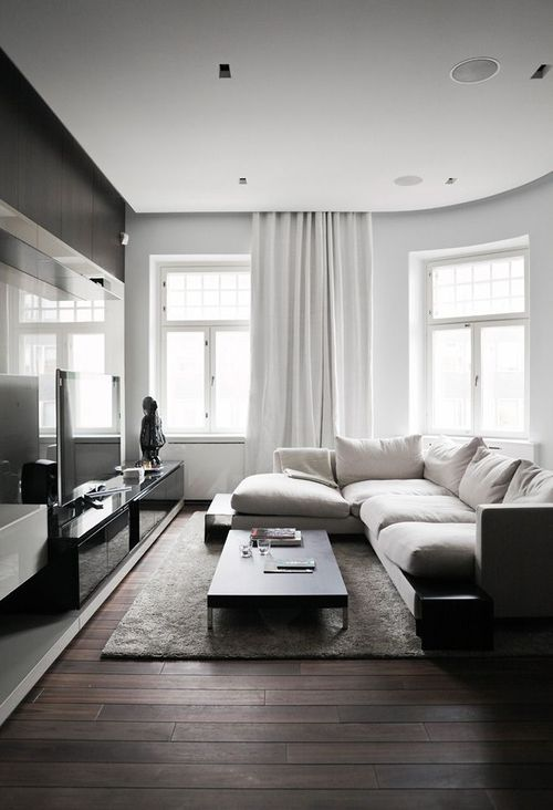 3 dark floors types and 26 ideas to pull them off digsdigs for Minimalist living room decor