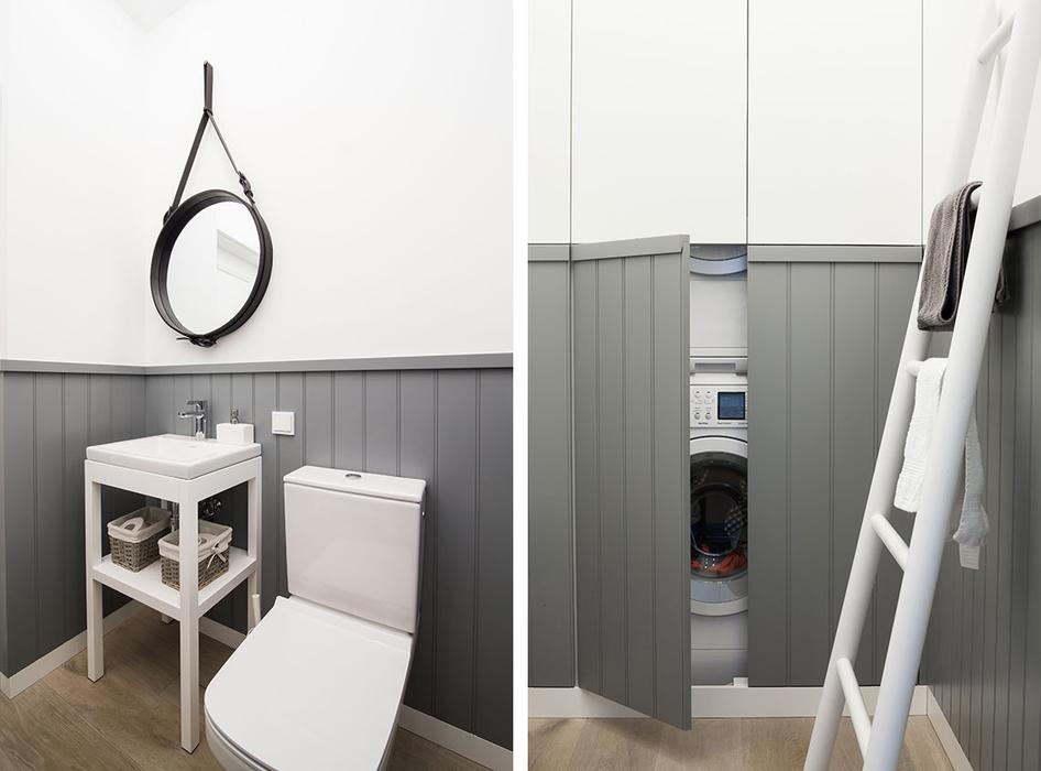 The guest toilet hides a washing machine and a dryer