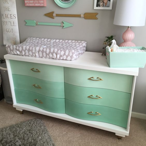 beautiful vintage dresser renovated into a changing table in ombre mint and white