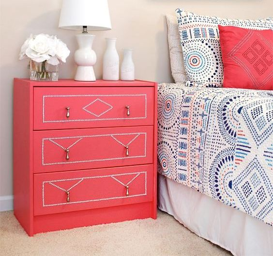 clever hack with coral paint and crystal nailhead trim