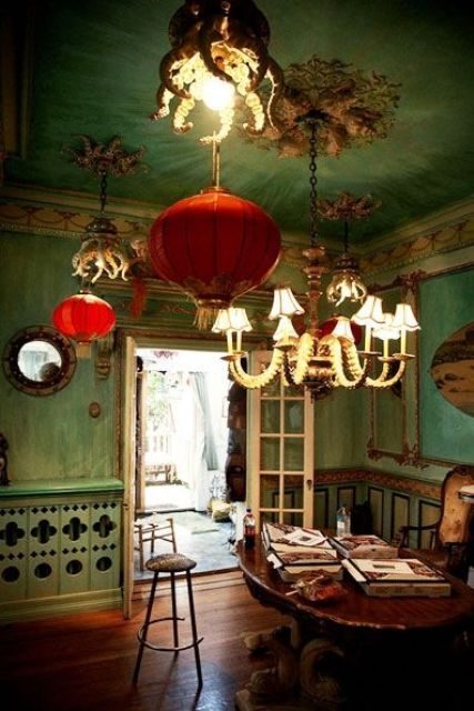 13 Pale green walls with red Chinese paper lanterns to make an accent