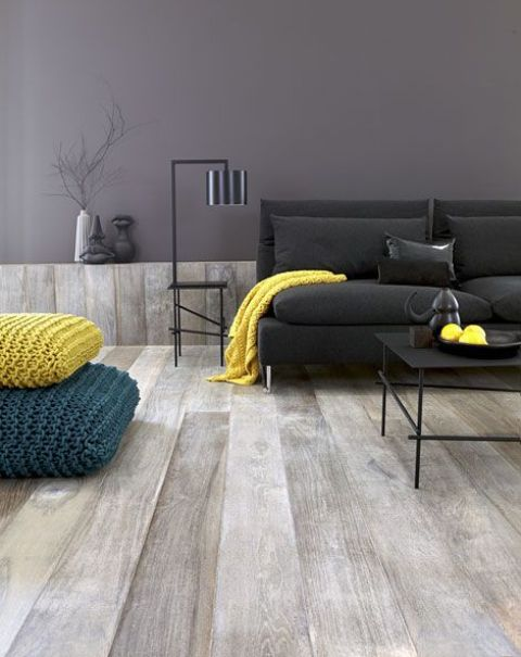 extra wide plank grey floors for a modern living room