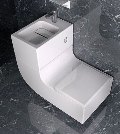Bon Stylish Curved Toilet And Sink Combo