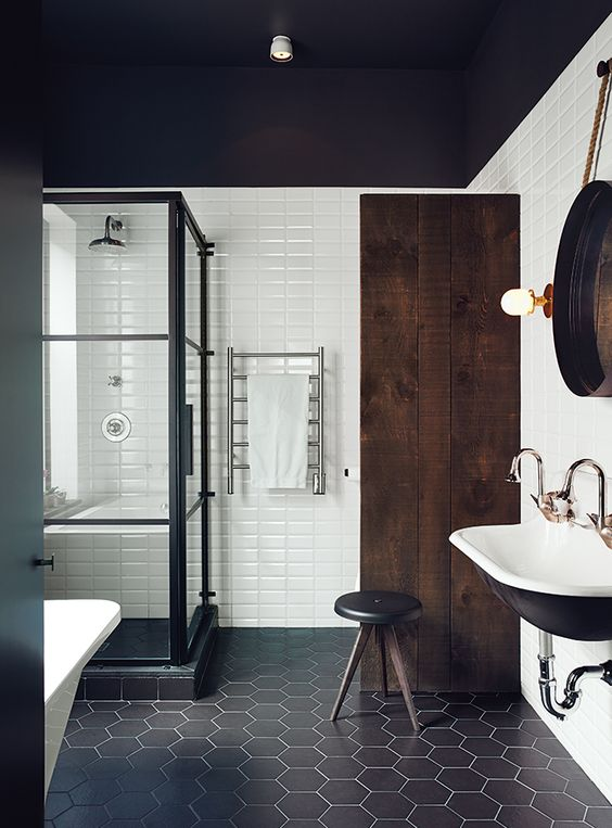 black hexagon tiles for bathroom decor